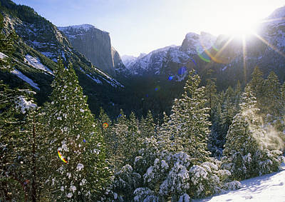 The Yosemite Valley In Winter Poster