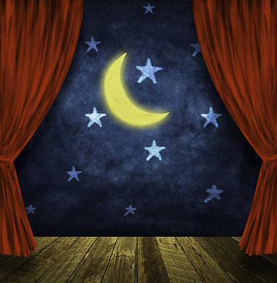Theater Stage With Red Curtains And Night Background  Poster