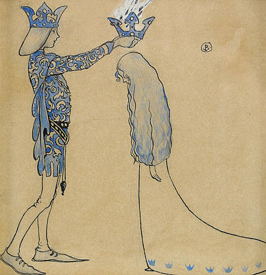 Then Put The Prince A Crown Of Gold On Her Head Poster by John Bauer