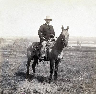 Theodore Roosevelt Horseback - C 1903 Poster by International  Images