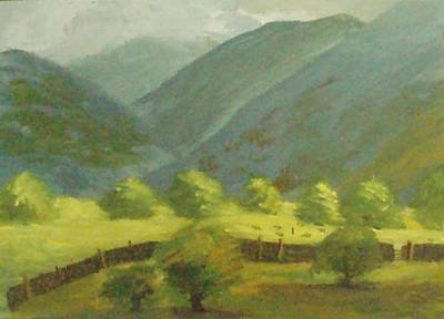 Poster featuring the painting There Is Mist Up Here by Trilby Cole