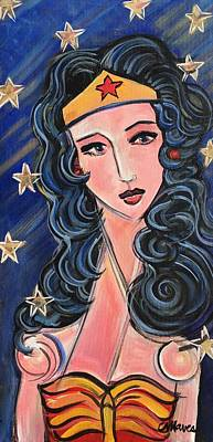 Poster featuring the painting There's A Wonder Woman In Us All by Laurie Maves ART