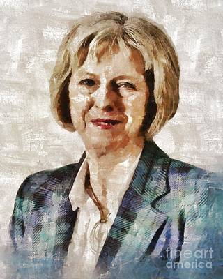 Theresa May, Prime Minister Of The United Kingdom By Mary Bassett Poster