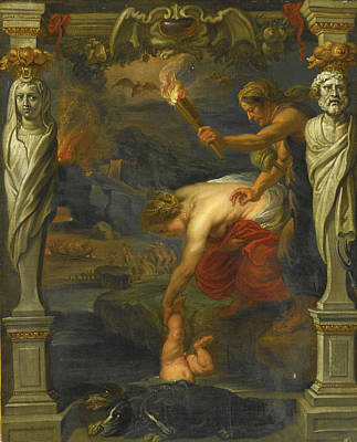 Thetis Dipping The Infant Achilles Into The River Styx Poster