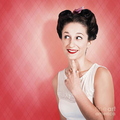 Thinking Fifties Pinup Girl With Old Hairstyle Poster by Jorgo Photography - Wall Art Gallery