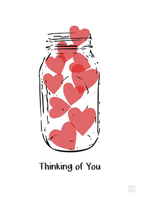 Poster featuring the mixed media Thinking Of You Jar Of Hearts- Art By Linda Woods by Linda Woods