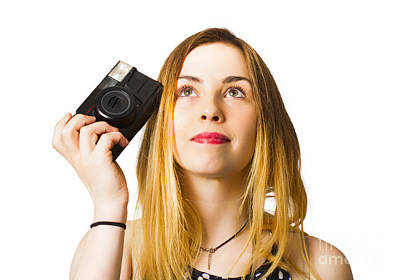 Thinking Photographer Girl Poster by Jorgo Photography - Wall Art Gallery
