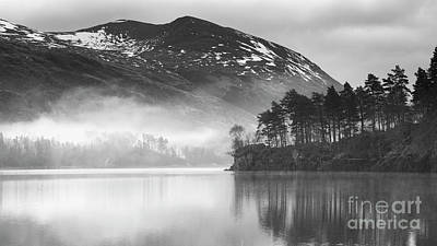 Thirlmere In The Mist Monochrome Poster by Tony Higginson