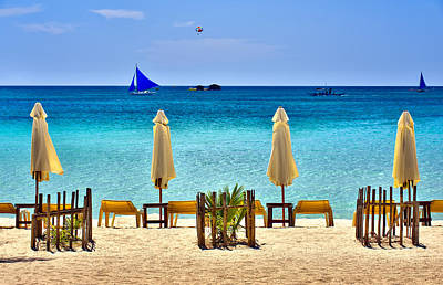 This Is The Philippines No.28 - Beach Scene With Sail Boats Poster by Paul W Sharpe Aka Wizard of Wonders