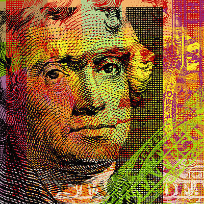 Poster featuring the digital art Thomas Jefferson - $2 Bill by Jean luc Comperat