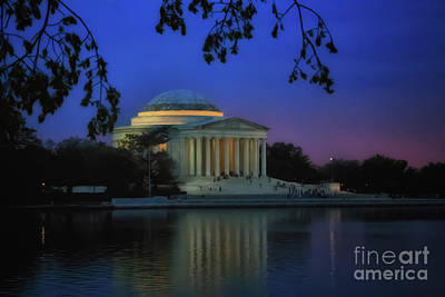 Thomas Jefferson Memorial Sunset Poster by Elizabeth Dow
