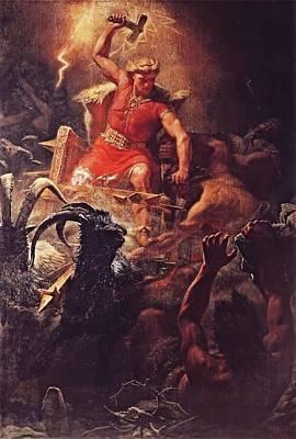 Thor God Of The Vikings  Poster by Marten Eskil Winge