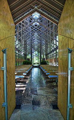 Poster featuring the photograph Thorncrown Chapel Entrance by Cricket Hackmann