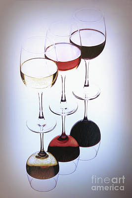 Three Glasses Of Wine Poster by George Oze