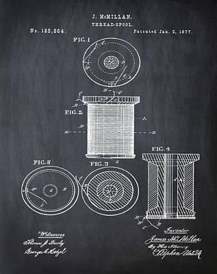 Thread Spool Patent 1877 Chalk Poster