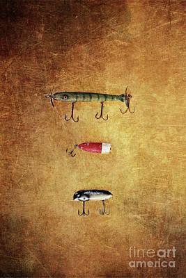 Three Antique Fishing Lure Poster by Stephanie Frey