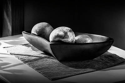 Three Apples In Black And White In A Bowl Poster by Randall Nyhof