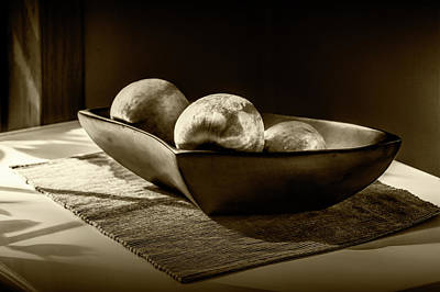 Three Apples In Sepia Tone In A Bowl Poster by Randall Nyhof
