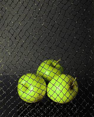 Poster featuring the photograph Three Apples by Viktor Savchenko