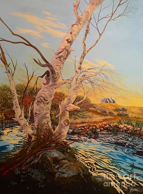 Poster featuring the painting Three Birches by Gail Allen