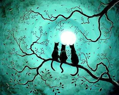 Three Black Cats Under A Full Moon Poster