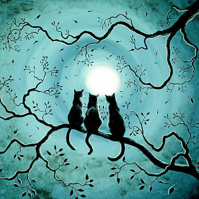 Three Black Cats Under A Full Moon Silhouette Poster