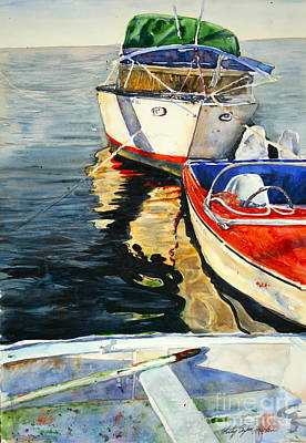 Three Boats Waiting Poster by Shirley Sykes Bracken