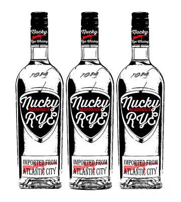 Three Bottles Of Nucky Thompson Boardwalk Rye Whiskey Poster by Edward Fielding