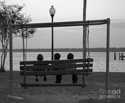 Three Boys On A Swing Poster