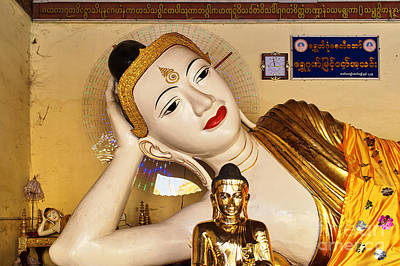 Poster featuring the photograph Three Buddhas At Shwedagon Pagoda by Dean Harte