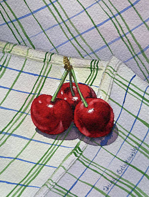 Three Sweet Cherries By Irina Sztukowski Poster