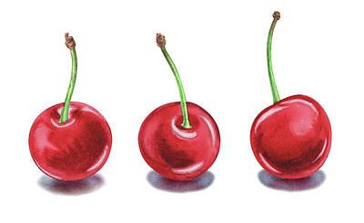 Poster featuring the painting Three Cherries Watercolor Painting by Irina Sztukowski