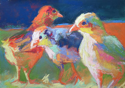 Three Chicks Poster by Sandy Lindblad