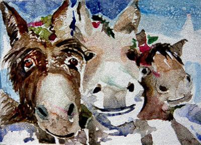 Three Christmas Donkeys Poster