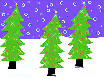 Three Christmas Trees Poster by Genevieve Esson