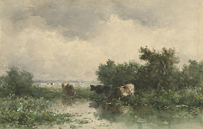 Three Cows At A Pond Poster by Willem Roelofs