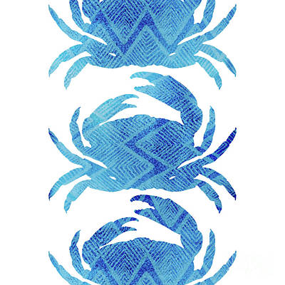 Three Crabs, Tropical Caribbean Blue Crabs Poster by Tina Lavoie