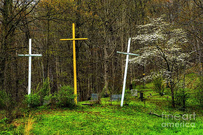 Three Crosses And Dogwood In Bloom Poster
