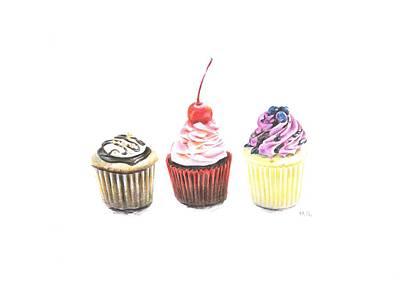 Three Cupcakes Poster