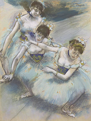 Three Dancers In A Diagonal Line On The Stage Poster by Edgar Degas