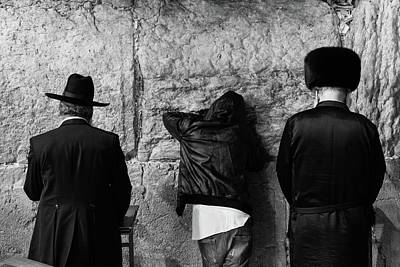 Poster featuring the photograph Three Different Selichot Prayers At The Kotel by Yoel Koskas