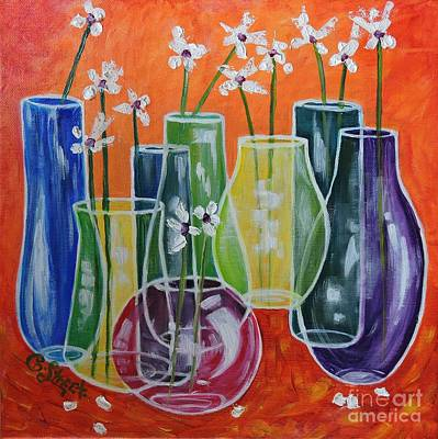 Three-dimensional Vases With 13 Flowers Poster by Caroline Street