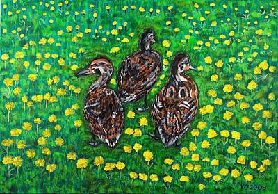 Three Ducklings Poster by Valerie Ornstein
