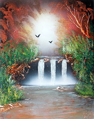 Poster featuring the painting Three Falls by Greg Moores