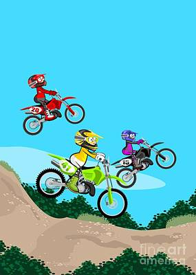Three Fast Motocross Riders Running A Dirt Track Race Jumping On Their Powerful Motorcycles Poster