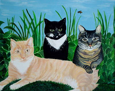 Poster featuring the painting Three Furry Friends by Elizabeth Robinette Tyndall