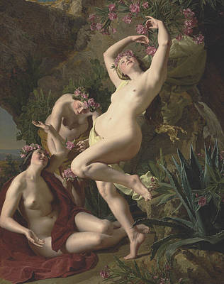 Three Graces Garlanded With Roses Poster