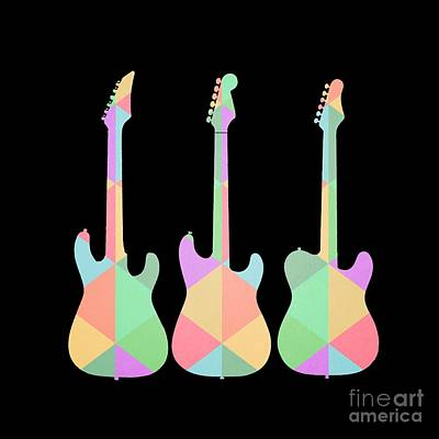 Three Guitars Triangles Tee Poster