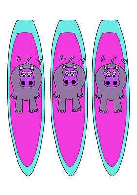 Three Hippos Surfing Poster