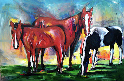 Three Horses Sunny Day Poster